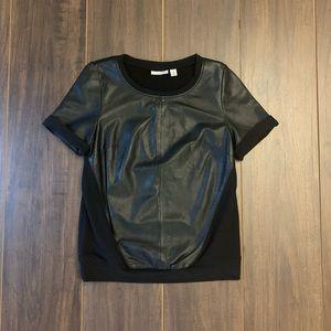 Halogen Leather Short Sleeved Top